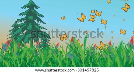 Meadow with butterflies - stock vector