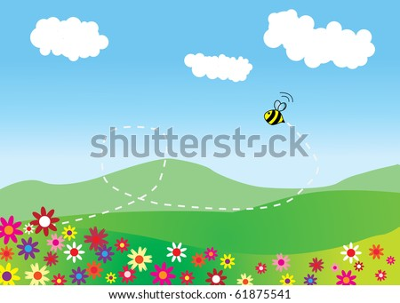 Meadow with flying bee and mountains on background - stock vector