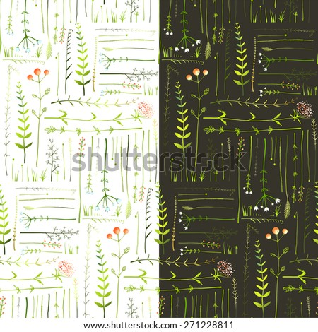 Meadow with Grass and Flowers Seamless Background. Green meadow grass seamless patterns on black and white background illustration. Vector EPS10. - stock vector