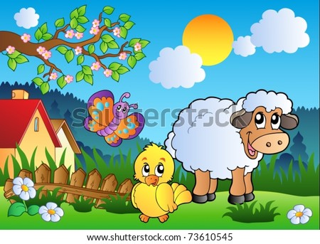 Meadow with happy spring animals - vector illustration. - stock vector
