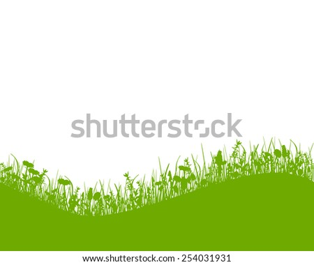 Meadow with hill - stock vector