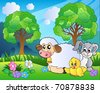 Meadow with spring animals - vector illustration. - stock vector