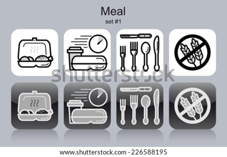 Meal menu food and drink icons. Set of editable vector monochrome illustrations. - stock vector