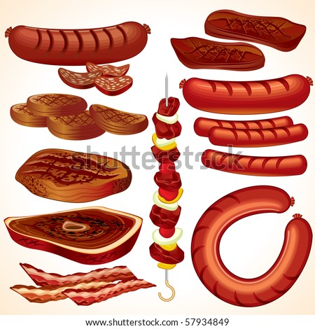 Meal set #4: detailed vector BBQ collection-clip-art of Steak, Kebab, Hamburger, Sausages, Hot-dog, Bacon, Bratwurst, Roast beef, Cutlet.. SIMILAR IMAGES SEE AT MY GALLERY - stock vector