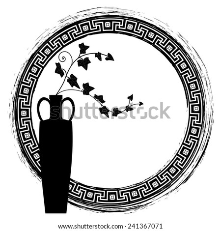 meander vector frame with branches of ivy in black and white colors - stock vector