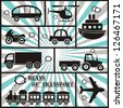 means of transport icons with stripes - stock vector