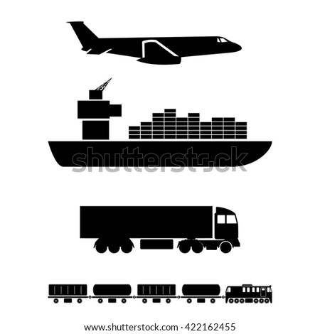 Means of Transportation - Vehicle Ship Plane Train - Graphic Silhouette Style - stock vector