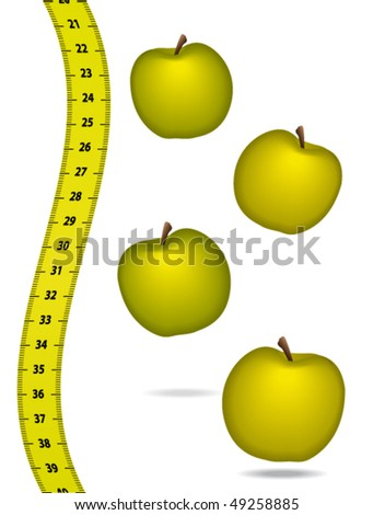Measure tape with appels. Healthcare concept. Vector illustration. - stock vector
