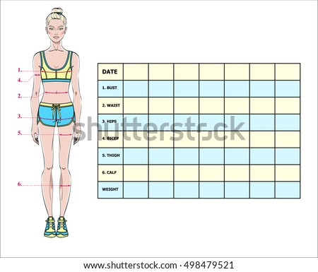 measurement chart of body parameters for sport and diet effect tracking blank weight loss table