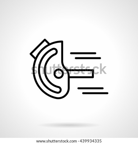 Measurement tools and instruments. Goniometer or device for angles measuring. Metrology, engineering, construction. Simple black line vector icon - stock vector