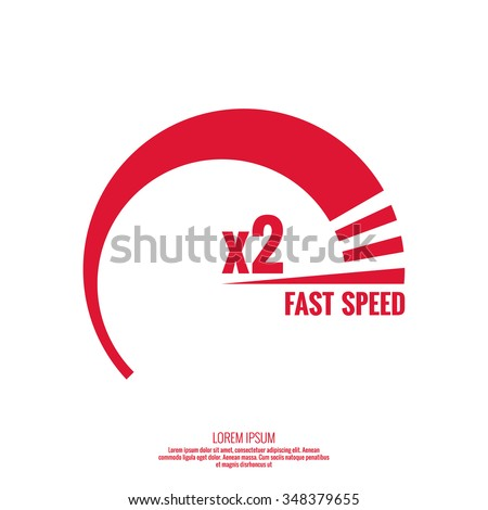Measuring device with  scale. Speedometer. The concept of maximum acceleration and fast speed.  - stock vector