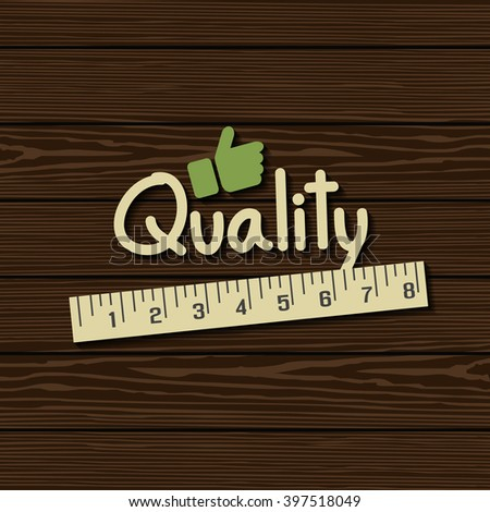 Measuring quality on texture wood - stock vector