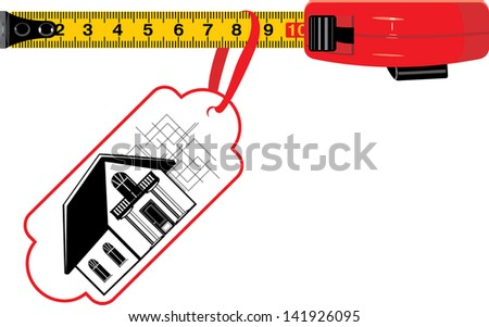 Measuring ruler with tag. Cottage for sale. Vector - stock vector