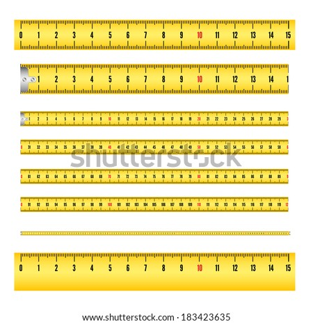 Measuring tape in mm for tool roulette, and ruler. Vector illustration isolated on white background. Several variants, proportional scaled. - stock vector