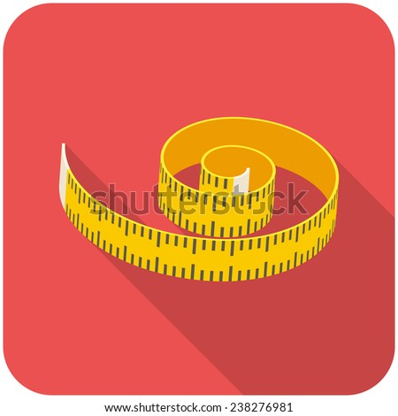 Measuring tape, modern flat icon with long shadow - stock vector