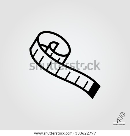 Measuring tape.  Vector icon for presentation, training, marketing, design, web. Can be used for creative template, logo, sign, craft. Isolated on white background. Vector black silhouette.  - stock vector