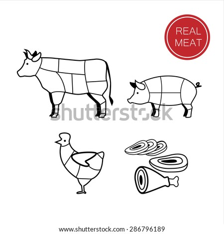 meat - a template for the sign, logo or icon, or a grocery store meat, the designation of meat products. - stock vector