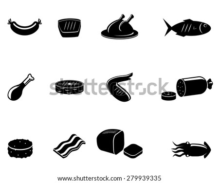 Meat and sea food vector icons - stock vector