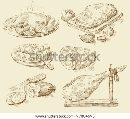 Meat collages - stock vector