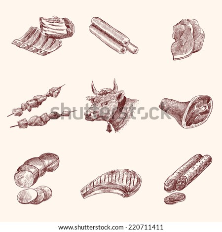 Meat food decorative icons set of cow ham fillet sketch isolated vector illustration - stock vector