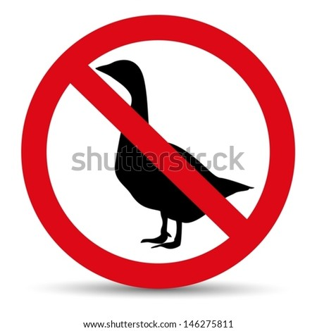 Meat forbidden sign. Silhouette of goose.