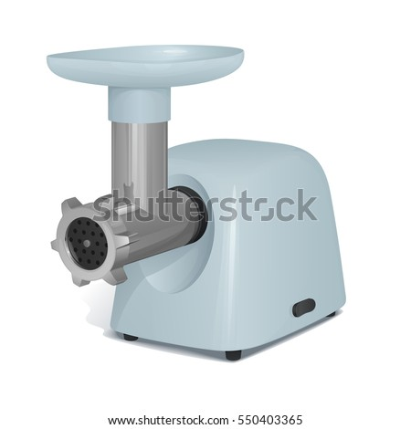 meat grinder electric with the light gray plastic case, a tray for meat and a metal pipe, on a white background with a shadow