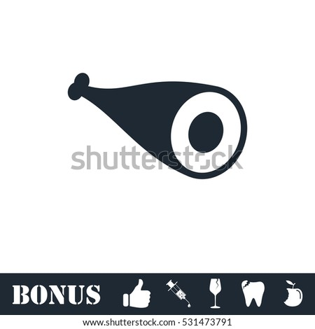 Meat icon flat. Vector illustration symbol and bonus pictogram