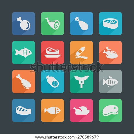 meat icon set - stock vector