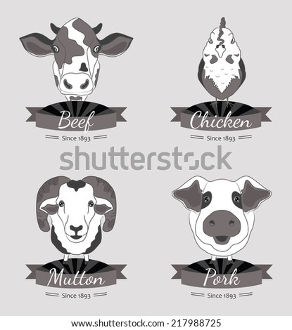 Meat labels collection. Four types of meat - beef, chicken, pork and mutton. Illustrations of the animals. - stock vector