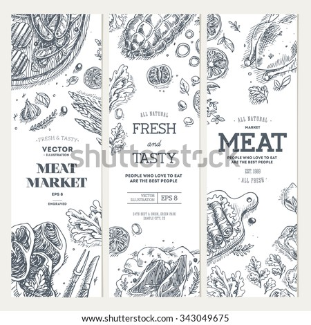 Meat market  banner collection. Linear graphic. Top view vintage illustration - stock vector