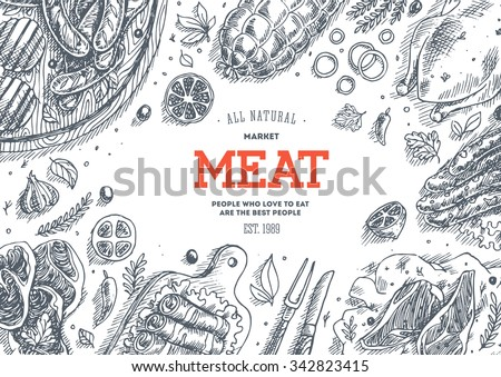Meat market  frame. Linear graphic. Vector illustration - stock vector