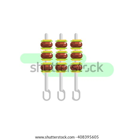 Meat On Skewers Primitive Style Graphic Colorful Flat Vector Image On White Background