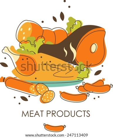 Meat products concept in retro sketch style - stock vector
