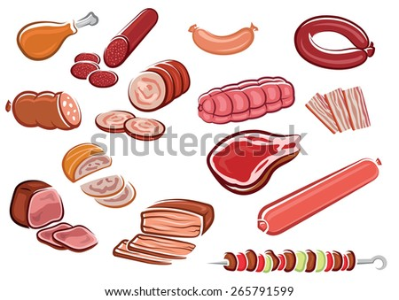 Meat products in cartoon style including  bacon strips, sliced sausages and roast beef, fresh steak, chicken leg, kebab with vegetables on skewer suited for steak house or butcher shop design - stock vector