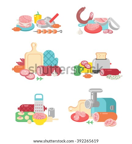 Meat products ingredient preparation and meat products rustic elements preparation equipment. Meat products food preparation flat vector illustration icons.  - stock vector