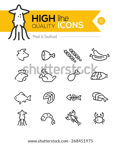 Meat & Seafood Line Icons including: Beef, chicken, fish, sushi etc.. - stock vector