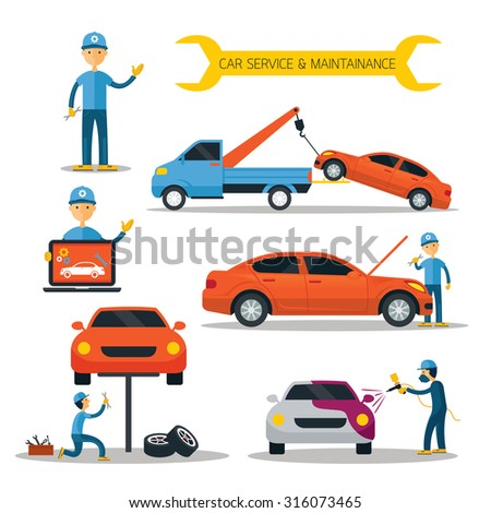 Mechanic and Car Maintenance Service, Automobile Check Up, Repair - stock vector