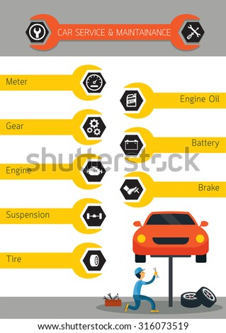 Mechanic and Car Maintenance Service , Automobile Check Up, Repair with Icons Button Menu, Infographic,  - stock vector