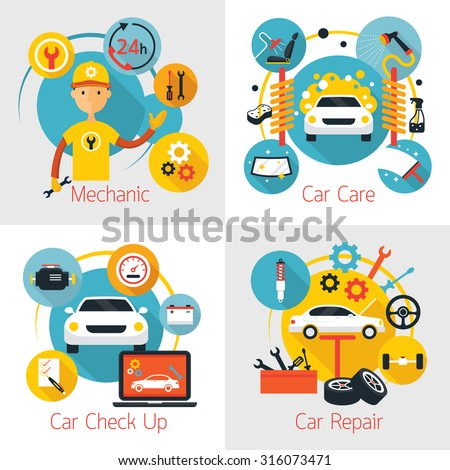 Mechanic and Car Maintenance Service Concept Set, Automobile Check Up, Repair - stock vector