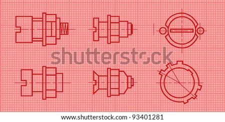 mechanic blueprint background. vector illustration - stock vector
