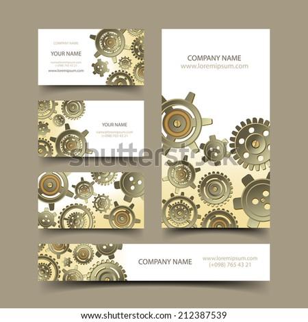 Mechanic business cards set - stock vector