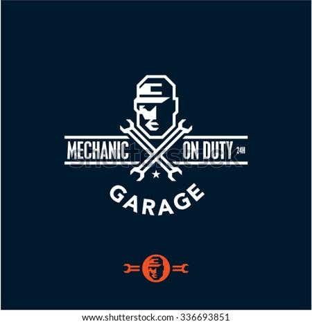 mechanic, car service, garage logo - stock vector