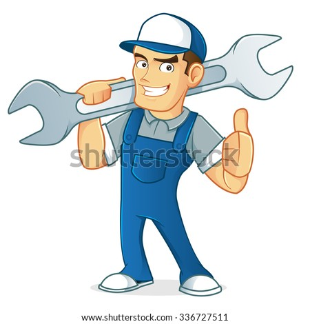 Mechanic carrying wrench  - stock vector