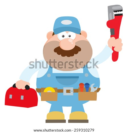 Mechanic Cartoon Character With Wrench And Tool Box Flat Style. Vector Illustration Isolated On White - stock vector