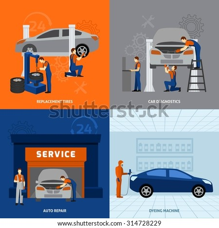 Mechanic design concept set with tires replacement auto repair flat icons isolated vector illustration - stock vector