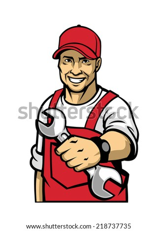 mechanic hold a wrench - stock vector