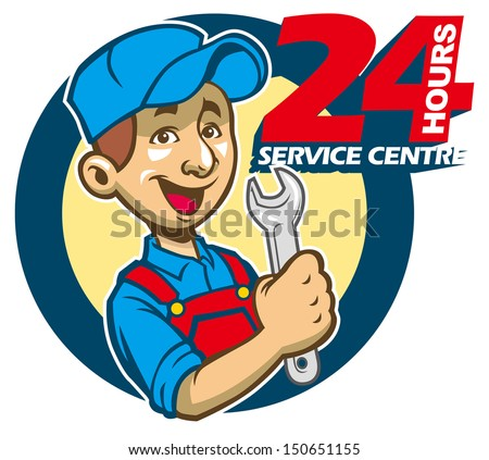 Mechanic hold wrench - stock vector