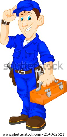mechanic holding utility box - stock vector
