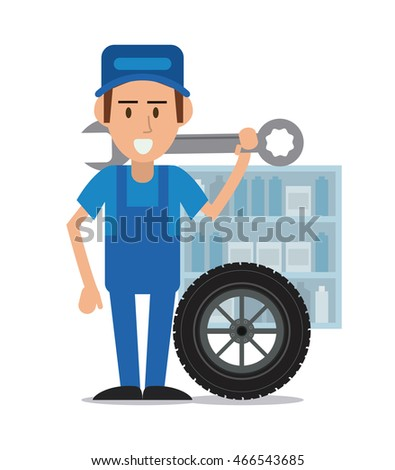 mechanic man cartoon wrench wheel auto rapair service maintenance icon. Colorful illustration. Vector graphic