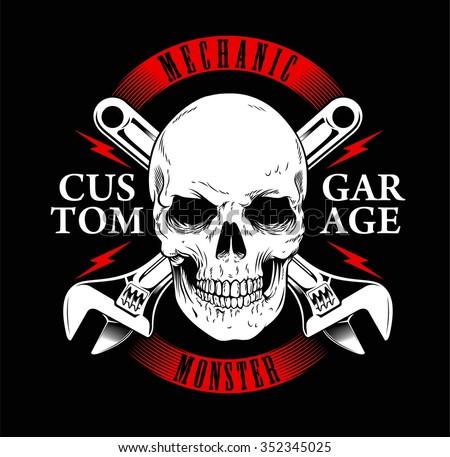 mechanic monster or garage vintage and skull print tees - stock vector
